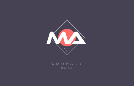 ma m a  vintage retro pink purple rhombus alphabet company letter logo design vector icon creative template background