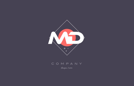 md: md m d  vintage retro pink purple rhombus alphabet company letter logo design vector icon creative template background