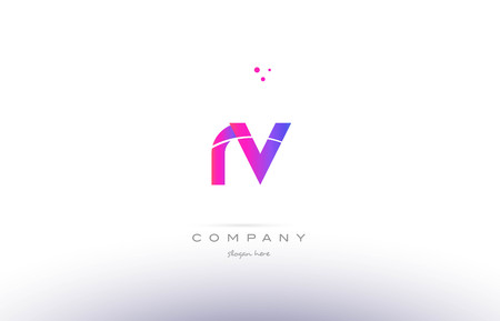 rv r v  pink purple modern creative gradient alphabet company logo design vector icon template 向量圖像