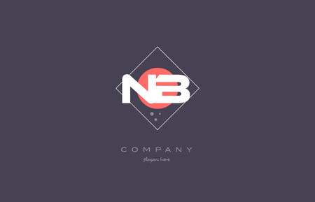 nb: nb n b  vintage retro pink purple rhombus alphabet company letter logo design vector icon creative template background
