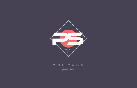 ps p s  vintage retro pink purple rhombus alphabet company letter logo design vector icon creative template background Illustration