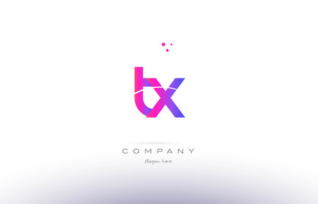 tx: tx t x  pink purple modern creative gradient alphabet company logo design vector icon template