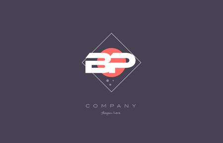 bp b p  vintage retro pink purple rhombus alphabet company letter logo design vector icon creative template background Illustration