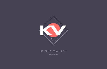 kv k v vintage retro pink purple rhombus alphabet company letter logo design vector icon creative template background Logó