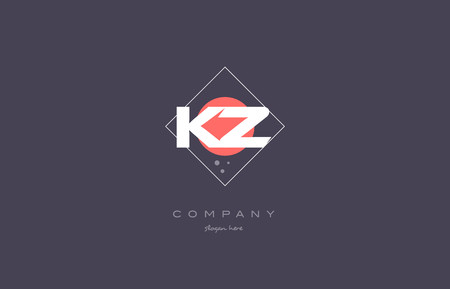 kz: kz k z  vintage retro pink purple rhombus alphabet company letter logo design vector icon creative template background