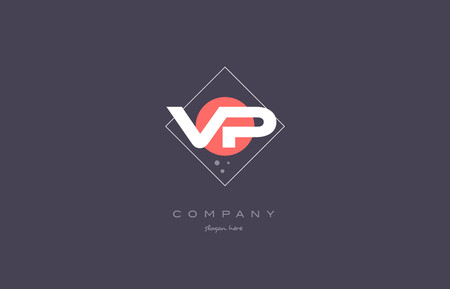 vp: vp v p  vintage retro pink purple rhombus alphabet company letter logo design vector icon creative template background