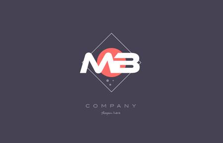 mb: mb m b  vintage retro pink purple rhombus alphabet company letter logo design vector icon creative template background