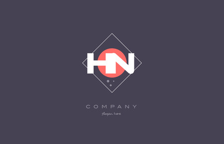 hn: hn h n  vintage retro pink purple rhombus alphabet company letter logo design vector icon creative template background