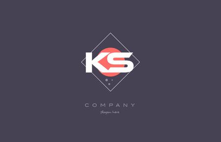 ks k s  vintage retro pink purple rhombus alphabet company letter logo design vector icon creative template background