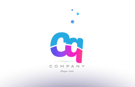CQ pink purple blue white uppercase lowercase modern creative alphabet gradient company letter logo design vector icon template.