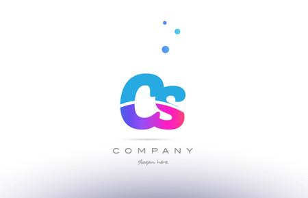 cs: CS pink purple blue white uppercase lowercase modern creative alphabet gradient company letter logo design vector icon template.