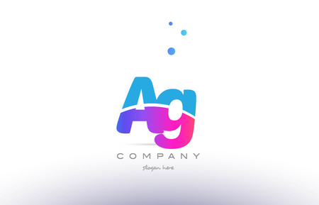 ag: AG pink purple blue white uppercase lowercase modern creative alphabet gradient company letter logo design vector icon template.