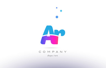ar: AR pink purple blue white uppercase lowercase modern creative alphabet gradient company letter logo design vector icon template.