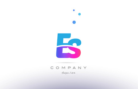 vector es: ES pink purple blue white uppercase lowercase modern creative alphabet gradient company letter logo design vector icon template.