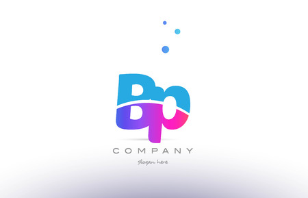 BP pink purple blue white uppercase lowercase modern creative alphabet gradient company letter logo design vector icon template.