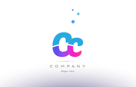 cc: CC pink purple blue white uppercase lowercase modern creative alphabet gradient company letter logo design vector icon template. Illustration