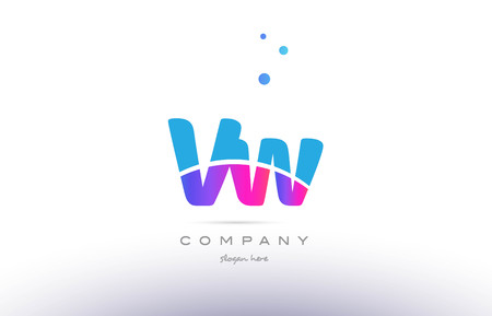 vw: VW pink purple blue white uppercase lowercase modern creative alphabet gradient company letter logo design vector icon template. Illustration