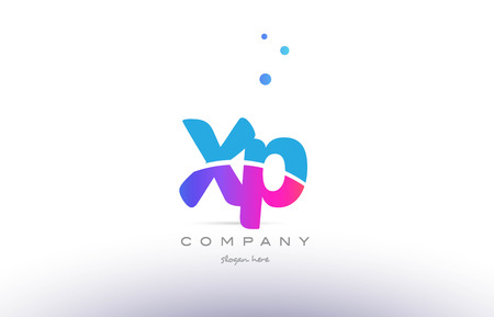 XP pink purple blue white uppercase lowercase modern creative alphabet gradient company letter logo design vector icon template. Illustration