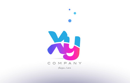 xy: XY pink purple blue white uppercase lowercase modern creative alphabet gradient company letter logo design vector icon template. Illustration
