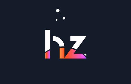 HZ pink modern creative purple alphabet white blue gradient company letter logo design vector icon template.