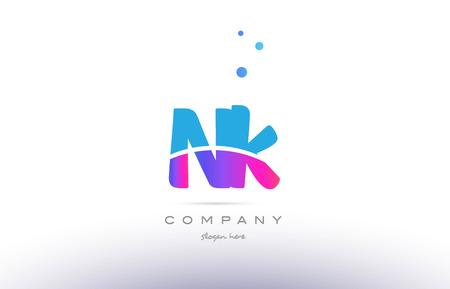 nk n k  pink purple blue white uppercase lowercase modern creative alphabet gradient company letter logo design vector icon template