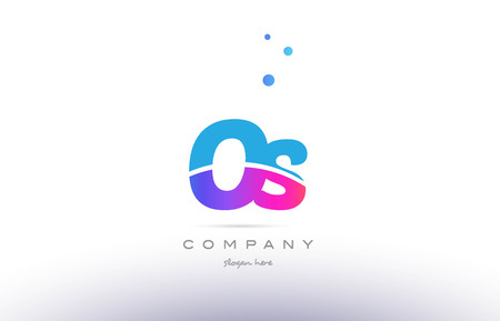 os: os o s  pink purple blue white uppercase lowercase modern creative alphabet gradient company letter logo design vector icon template Illustration