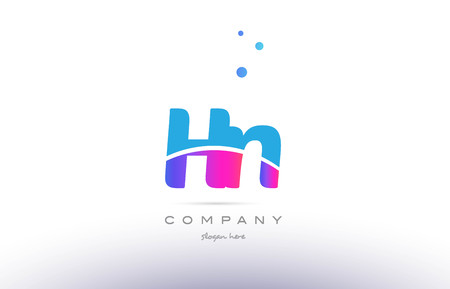hn: hn h n  pink purple blue white uppercase lowercase modern creative alphabet gradient company letter logo design vector icon template