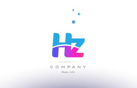 HZ pink purple blue white uppercase lowercase modern creative alphabet gradient company letter logo design vector icon template.