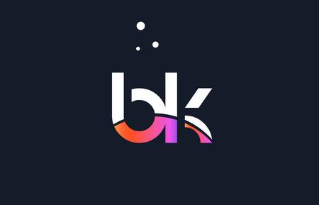 BK pink modern creative purple alphabet white blue gradient company letter logo design vector icon template.