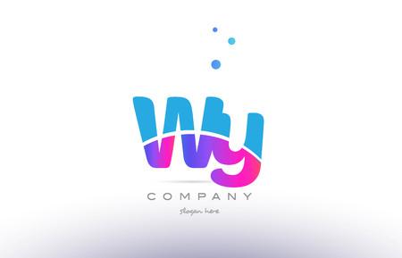 WY 핑크 보라색 파란색 흰색 대문자 소문자 현대 크리 에이 티브 그라데이션 회사 편지 로고 디자인 벡터 아이콘 템플릿.