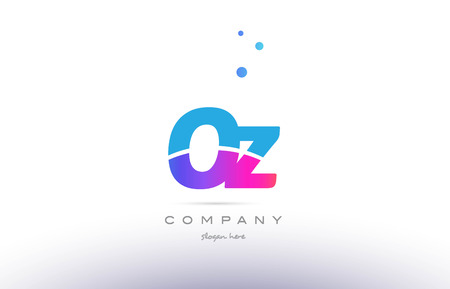 OZ pink purple blue white uppercase lowercase modern creative alphabet gradient company letter logo design vector icon template.