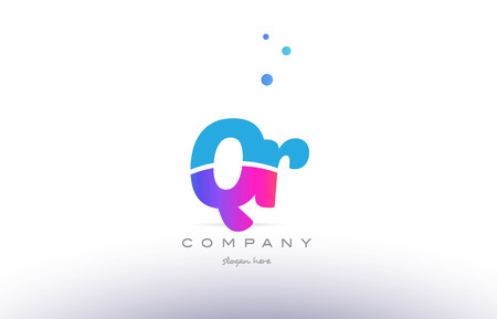 QR pink purple blue white uppercase lowercase modern creative alphabet gradient company letter logo design vector icon template.