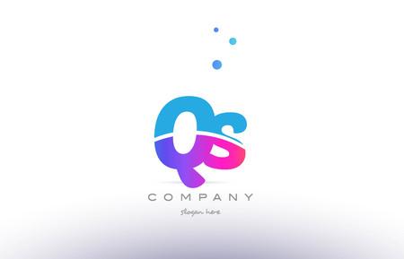 qs: QS pink purple blue white uppercase lowercase modern creative alphabet gradient company letter logo design vector icon template.
