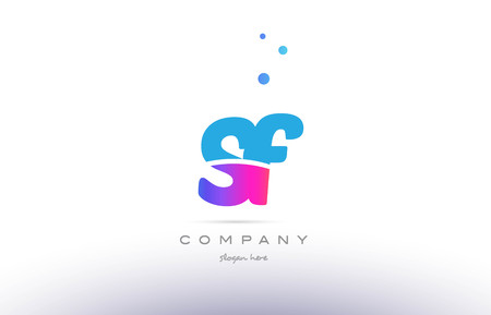 sf: sf s f  pink purple blue white uppercase lowercase modern creative alphabet gradient company letter logo design vector icon template