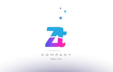 ZT pembe mor mavi beyaz büyük harf küçük harf, modern, yaratıcı alfabe degrade şirketi mektup logo tasarım vektör simgesi şablonu.