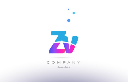 ZV pink purple blue white uppercase lowercase modern creative alphabet gradient company letter logo design vector icon template.