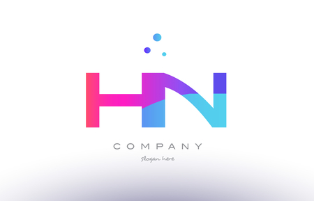 hn: hn h n  creative pink purple blue modern dots creative alphabet gradient company letter logo design vector icon template
