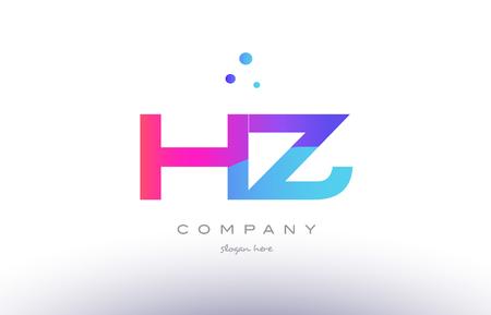 hz h z  creative pink purple blue modern dots creative alphabet gradient company letter logo design vector icon template