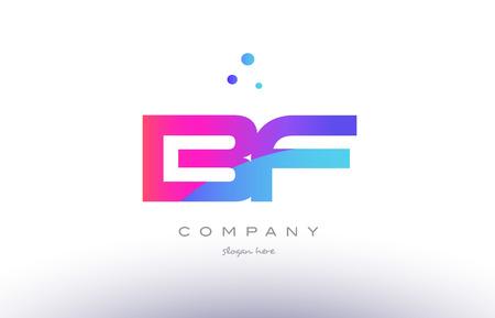 Bf bf créatif rose violet bleu moderne points créatif alphabet société dégradé lettre logo design vecteur icône modèle Banque d'images - 74989912
