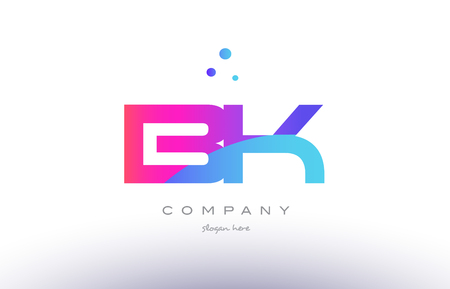 bk b k  creative pink purple blue modern dots creative alphabet gradient company letter logo design vector icon template