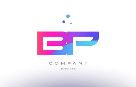 bp b p  creative pink purple blue modern dots creative alphabet gradient company letter logo design vector icon template