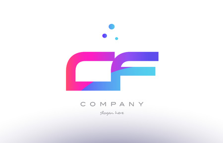 cf c f  creative pink purple blue modern dots creative alphabet gradient company letter logo design vector icon template