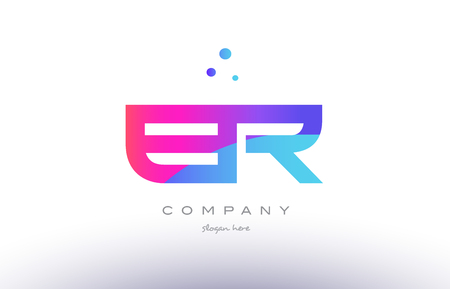 er: er e r  creative pink purple blue modern dots creative alphabet gradient company letter logo design vector icon template