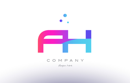 fh f h  creative pink purple blue modern dots creative alphabet gradient company letter logo design vector icon template Illustration