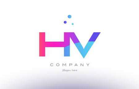 hv h v creative pink purple blue modern dots creative alphabet gradient company letter logo design vector icon template