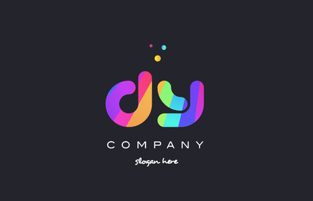 d: dy d y  creative rainbow green orange blue purple magenta pink artistic alphabet company letter logo design vector icon template Illustration