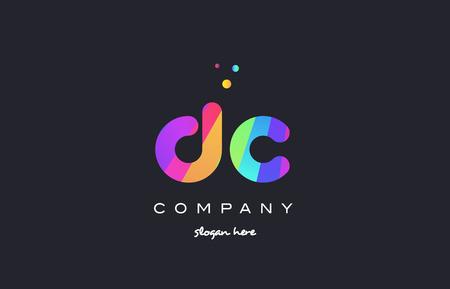 dc d c  creative rainbow green orange blue purple magenta pink artistic alphabet company letter logo design vector icon template