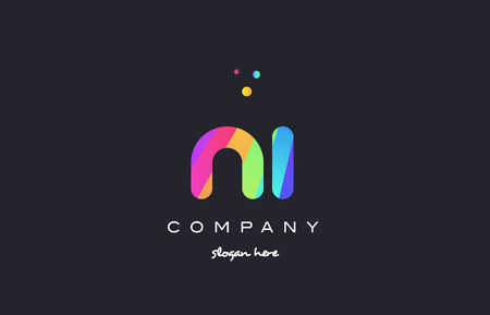 ni n i creative rainbow green orange blue purple magenta pink artistic alphabet company letter logo design vector icon template