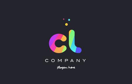 cl c l creative rainbow green orange blue purple magenta pink artistic alphabet company letter logo design vector icon template