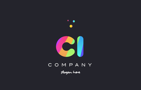 ci: ci c i  creative rainbow green orange blue purple magenta pink artistic alphabet company letter logo design vector icon template Illustration